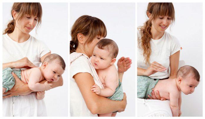 sacar gases a un bebé